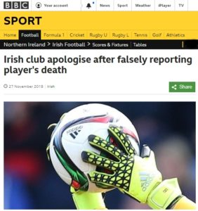 Footballer discovers reports of his own death in the news