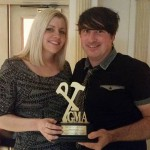 Peter and his girlfriend Janine with the award